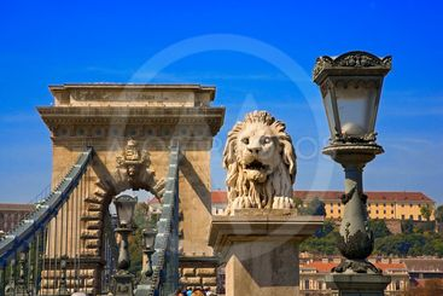 hungary,budapest :  chains bridge, street lamp and lion