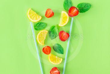 Creative layout strawberry lemonade ingredients - lemon,...