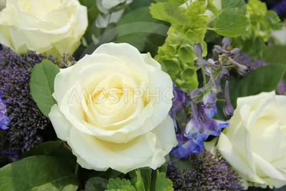 Blue White Flower arrangement for a wedding