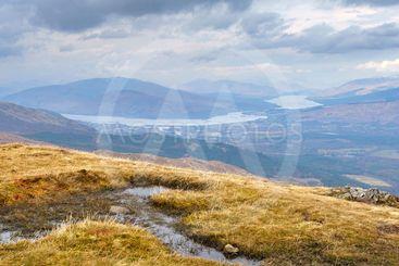 Inverlochy, Fort Williams and Loch Eil aerial view,...