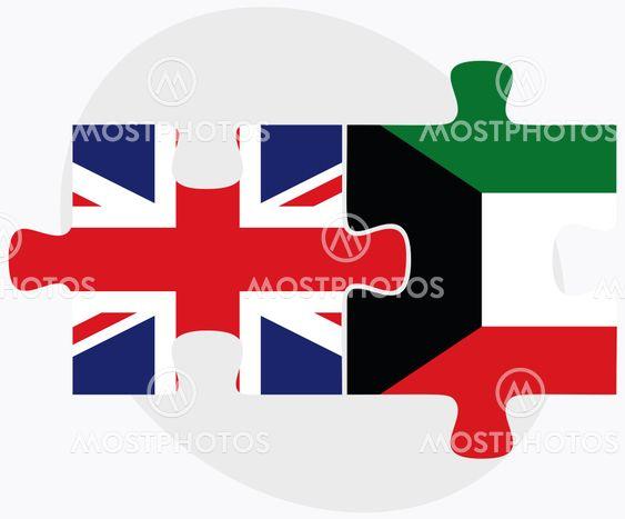 United Kingdom and Kuwait Flags