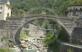 The ancient Gallia road and the Roman bridge in the town...