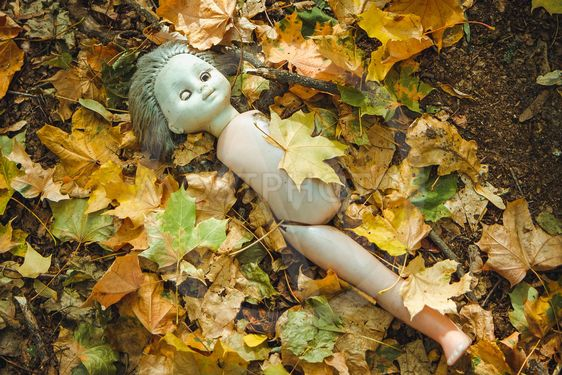 Old doll in Chornobyl exclusion zone. Radioactive zone in...