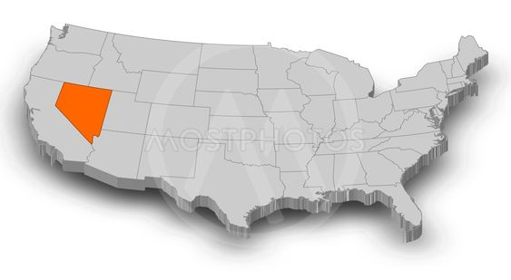 Map - United States, Nevada - 3D-Illustration