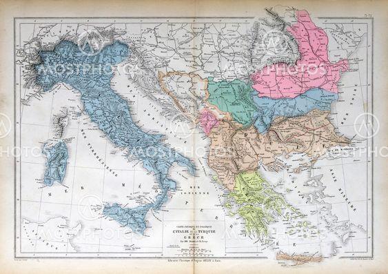 Gammal Karta Italien.Gammal Karta Over 1883 Ita Av Michael Roberts Mostphotos
