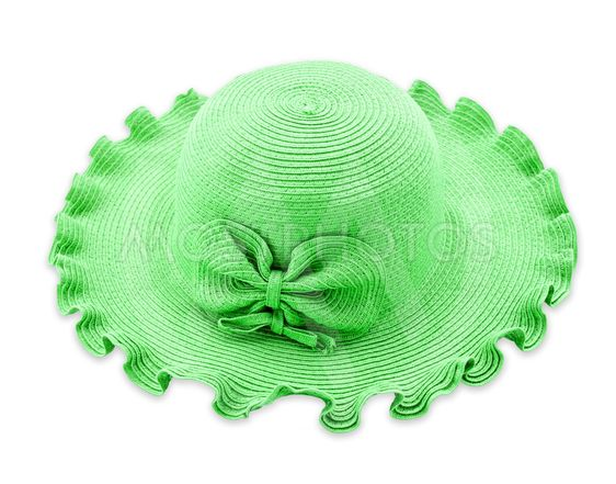 Green vintage woman hat isolated on white background.