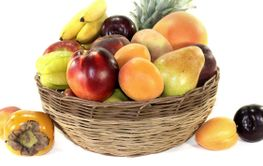 Fruit basket with various colorful fruits
