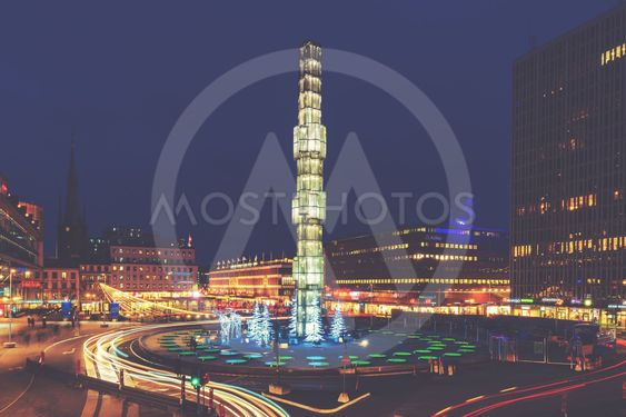 Sergels torg with its famous obelisk in the center during...