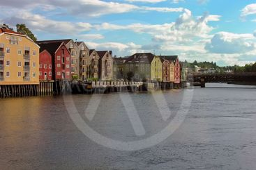 Trondheim old town over a river