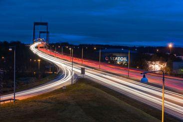 Highway illuminated at night