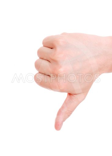 A thumbs down sign from a male hand