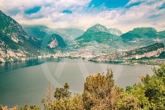 Panorama of the gorgeous Lake Garda surrounded by...