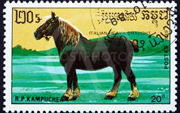 Postage stamp Cambodia 1989 Italian heavy draft, a breed...