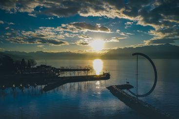 Morning photo of entrance to marina in Lausanne,...