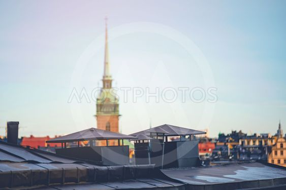 German church in the middle of Stockholm Old town with...