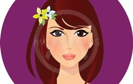 Upper body womans cartoon character portrait round icon