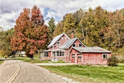 House and Autumn foliage, Vermont, USA