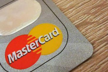 A macro closeup of a Mastercard credit card