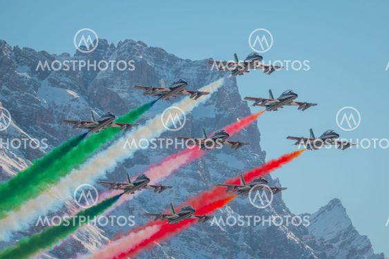 Acrobatic group of Freccia trecolori jet aeroplanes are...