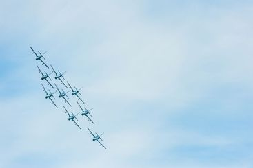 Aircraft formation at air show, Sweden.