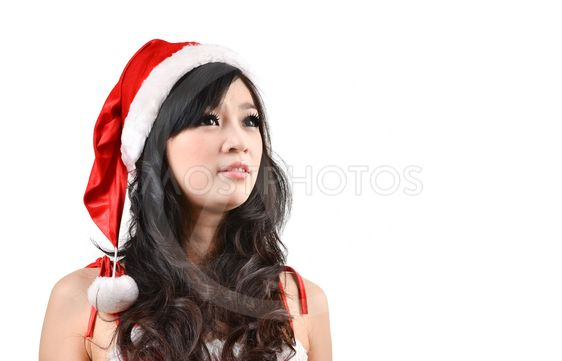 Santa woman Isolated on white background