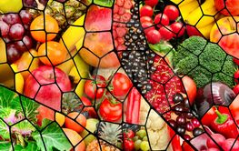 Fruits and vegetables in frame in form dragonfly wing
