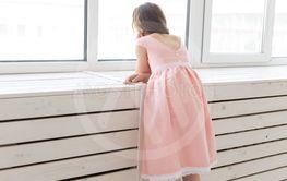 Charming little girl in a lush peach princess dress...