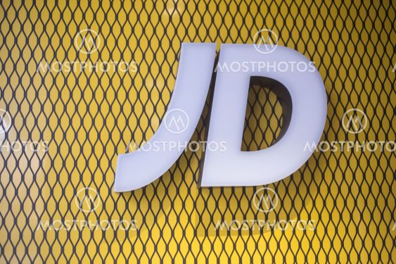 Closeup of JD logo on store front, JD is the famous brand...