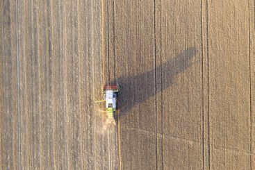 Top down aerial view of a harvester