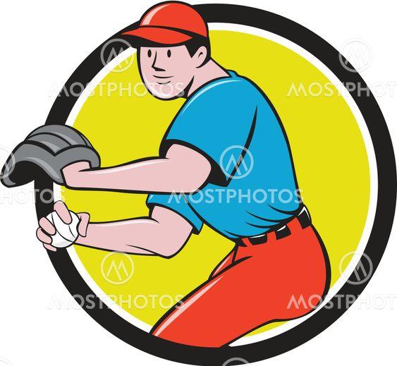 Baseball Player OutFielder Throwing Ball Circle Cartoon