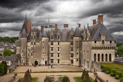france,touraine : langeais castle under cloudy sky