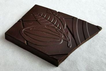 Closeup on one square piece of dark chocolate