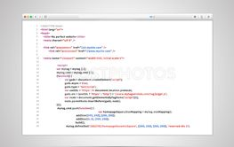 Browser window with simple html code of web page on white...