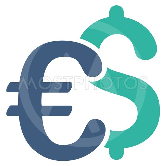 Euro and Dollar Symbols Flat Vector Icon