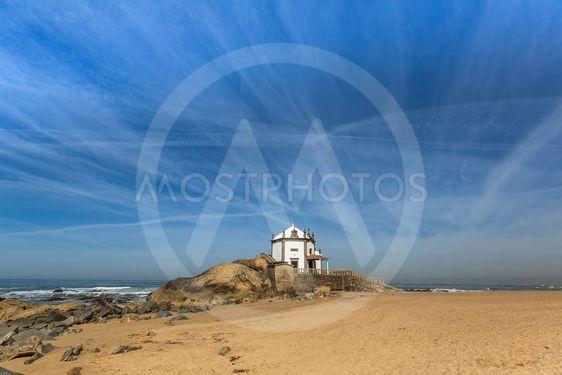 Miramar Beach and Chapel Senhor da Pedra, Atlantic ocean,...