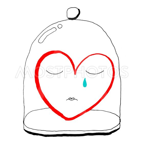 Red heart is crying under a glass bell jar. Funny...