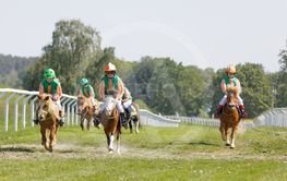 Many young jockey girls riding cute ponys