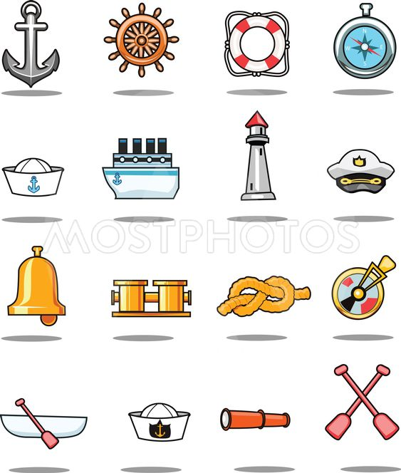sailor and sailing vector symbols