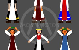 Small set of simple folkloric girl characters - flat...