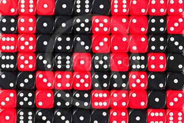 Background of 70 random ordered black and red dices