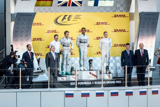 The podium of the Grand Prix of Russia. The Russian...