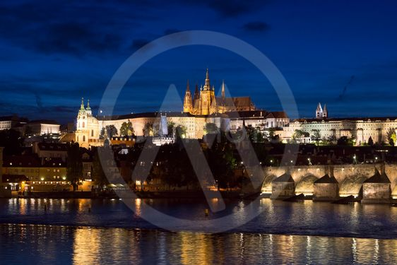 Pargue at dusk, view of the Charles Bridge and Prague...