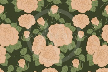 Bold vintage roses in a seamless pattern design