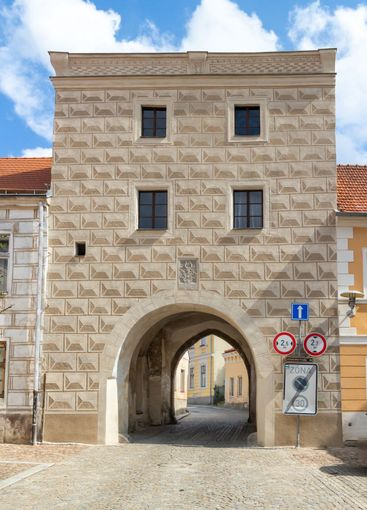 tower with passage sgraffito facade