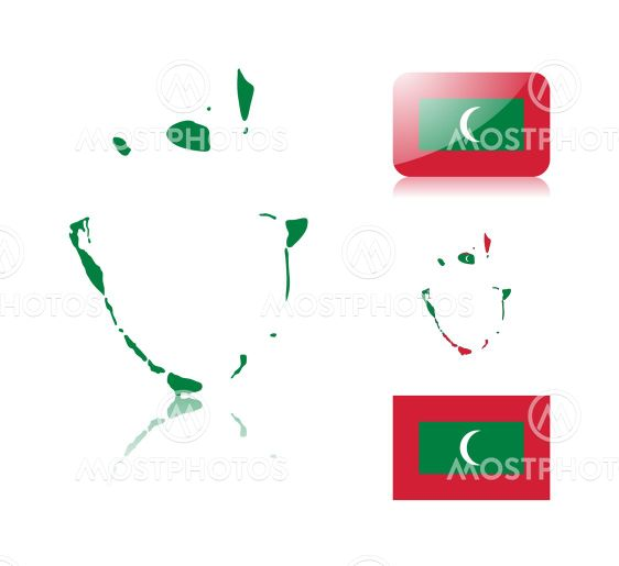 Cofkocof N Kuva Malediivien Kartta Ja Lippu Mostphotos