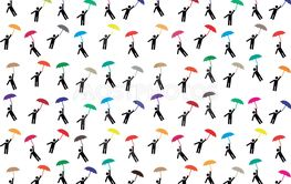 Pictogram people flying with umbrellas