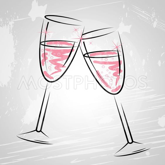 Champagne Glasses Indicates Sparkling Wine And Beverage