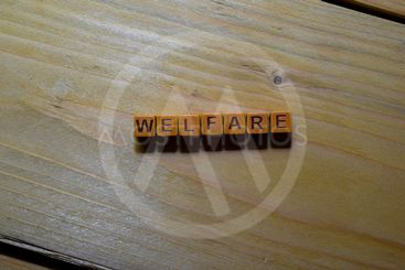 Welfare word on wooden blocks isolated on wooden table