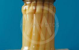 Organic asparagus in a jar