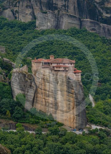 Panorama of Roussanou Monastery on a cloudy day